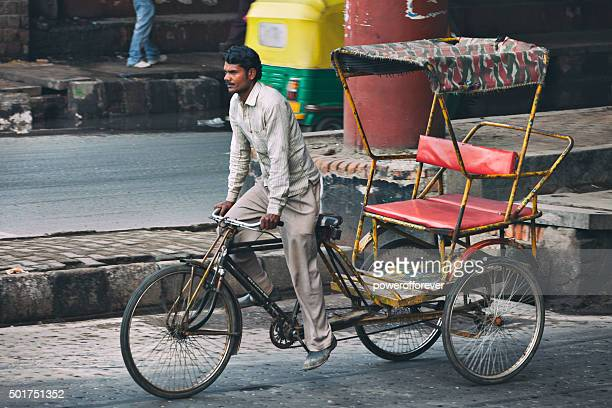rickshaw in old delhi, india - rickshaw stock photos and pictures