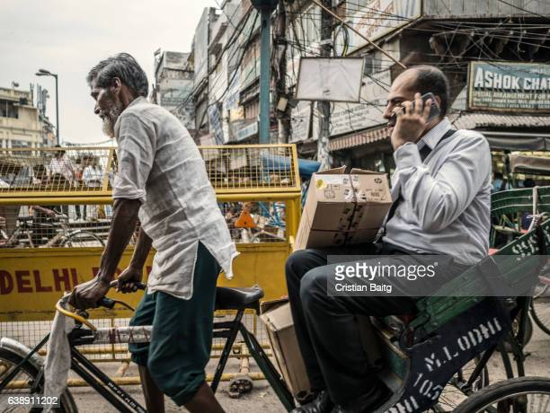 rickshaw in old delhi india - old delhi stock pictures, royalty-free photos & images