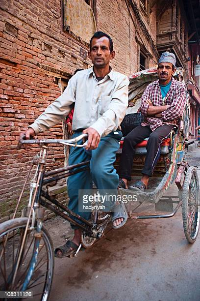 rickshaw - nepal stock pictures, royalty-free photos & images