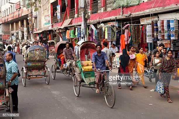 Rickshaws in heavy traffic in Dhaka Bangladesh