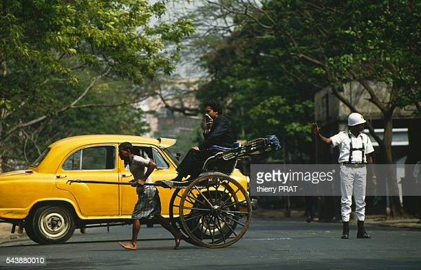 Rickshaws in the streets of Calcutta