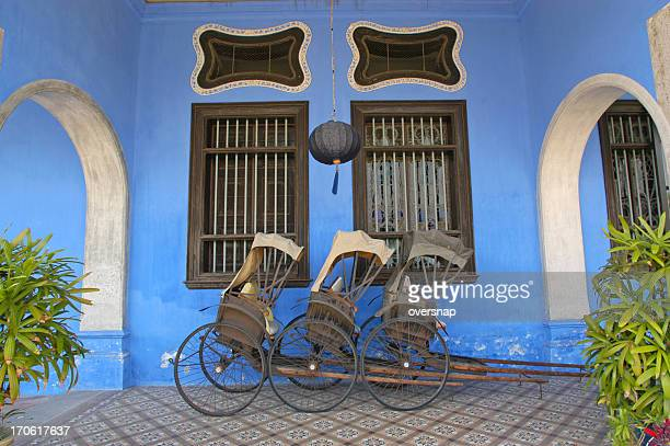 rickshaws - george town penang stock photos and pictures