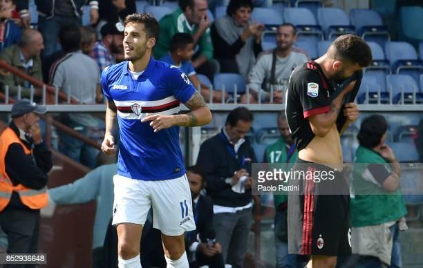 Ricky Alvarez celebrates after scoring to make it 20 during the Serie A match between UC Sampdoria and AC Milan at Stadio Luigi Ferraris on September...