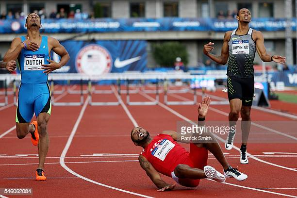 Ricky Babineaux falls to the track in the Men's 400 Meter Hurdles Final during the 2016 US Olympic Track Field Team Trials at Hayward Field on July...
