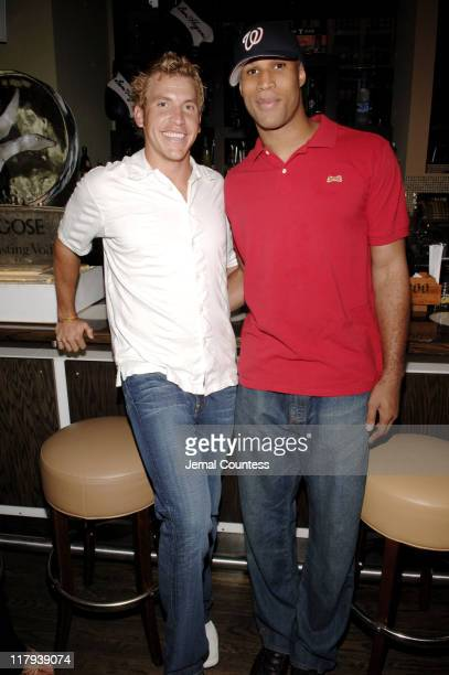 Ricky Barnes and Richard Jefferson during Top Flight Ben Hogan and NASCAR Host Silent Auction for The Victory Junction Gang Camp for Children at...