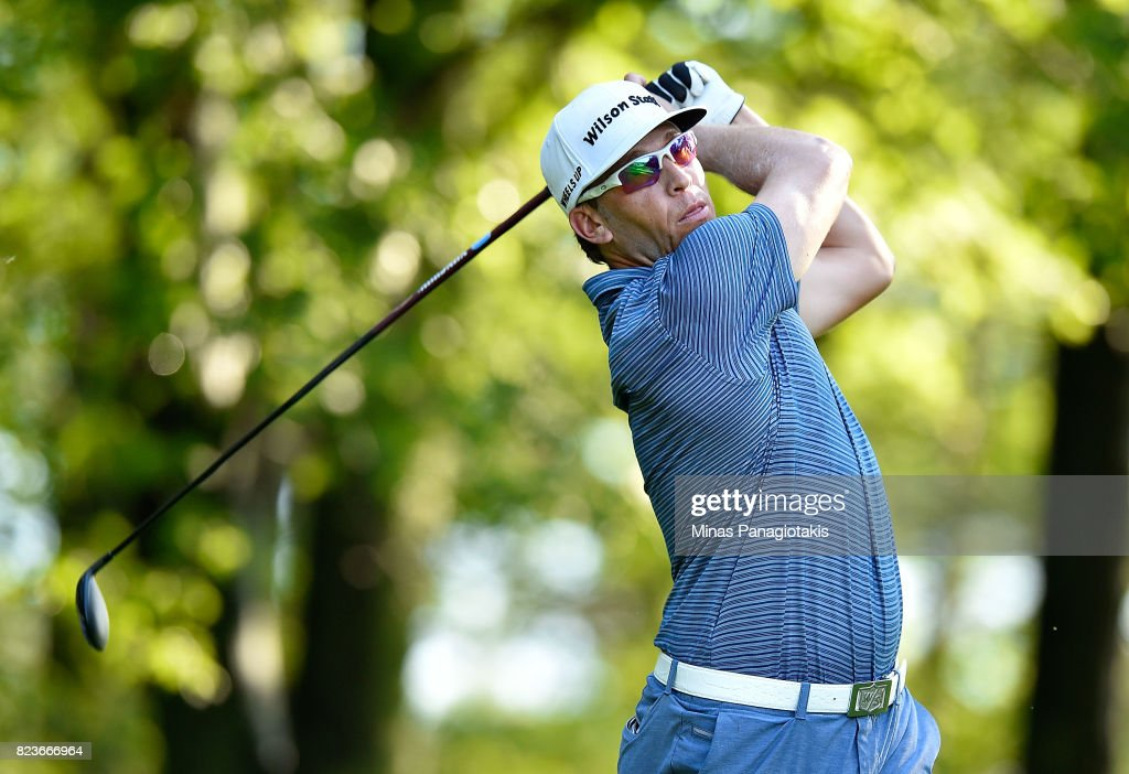 Ricky Barnes of the United States plays his shot from the 11th tee during round one of the RBC Canadian Open at Glen Abbey Golf Club on July 27, 2017 in Oakville, Canada.