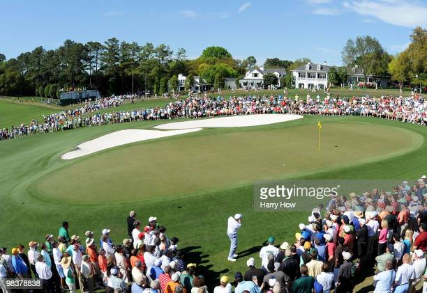 Ricky Barnes pitches to the ninth green during the third round of the 2010 Masters Tournament at Augusta National Golf Club on April 10 2010 in...