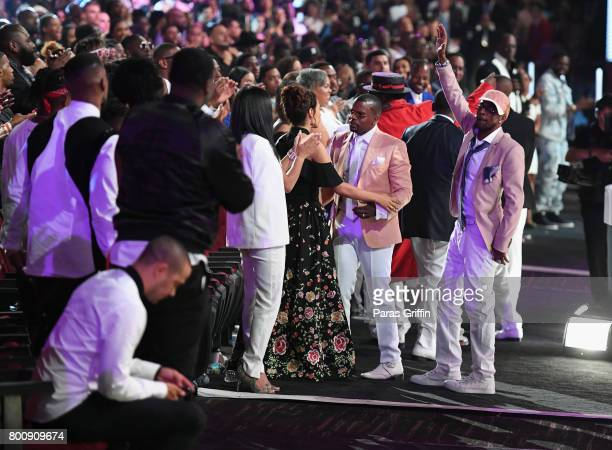 Ricky Bell and Ralph Tresvant of New Edition accept the Lifetime Achievement Award at 2017 BET Awards at Microsoft Theater on June 25 2017 in Los...