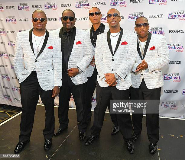 Ricky Bell Johnny Gill Ronnie DeVoe Ralph Tresvant and Michael Bivins of New Edition attend Essence Fest at Ernest N Morial Convention Center on June...