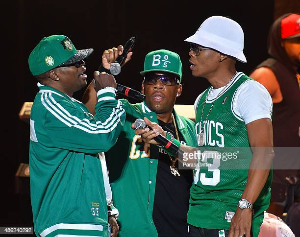 Ricky Bell Michael Bivins and Ronnie Devoe of Bell Biv Devoe perform in concert at Chastain Park Amphitheater on August 28 2015 in Atlanta Georgia