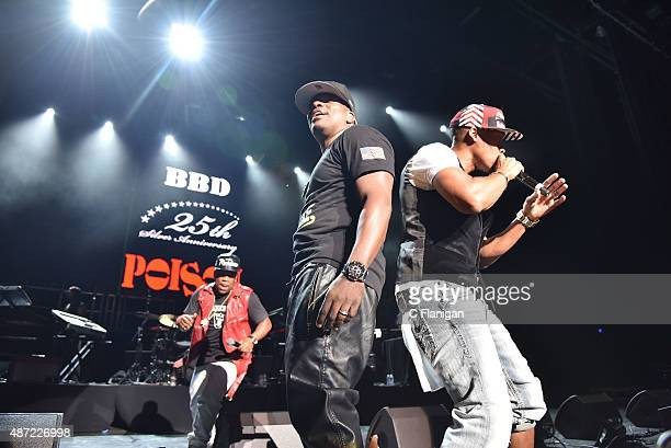 Ricky Bell Michael Bivins and Ronnie Devoe of Bell Biv Devoe perform during KBLX Hot Summer Night at Concord Pavilion on September 6 2015 in Concord...