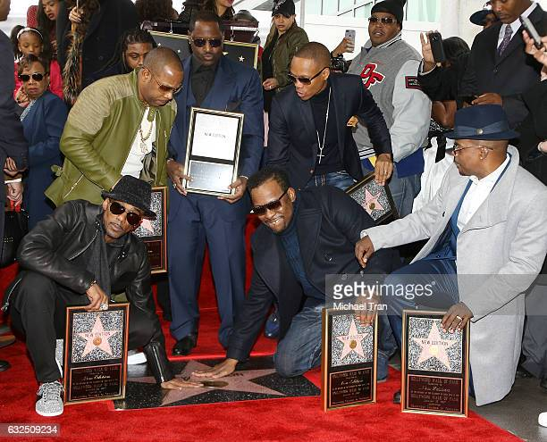 Ricky Bell Michael Bivins Bobby Brown Ronnie DeVoe Johnny Gill and Ralph Tresvant of New Edition attend the ceremony honoring New Edition with A Star...
