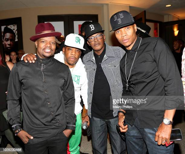 Ricky Bell Michael Bivins Brooke Payne and Ronnie Devoe arrive at the premiere screening of The Bobby Brown Story presented by BET and Totota at...