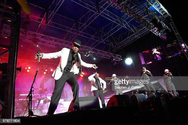 Ricky Bell Michael Bivins Ronnie DeVoe Johnny Gill and Ralph Tresvant of New Edition performs during the 2016 Cincinnati Music Festival at Paul Brown...