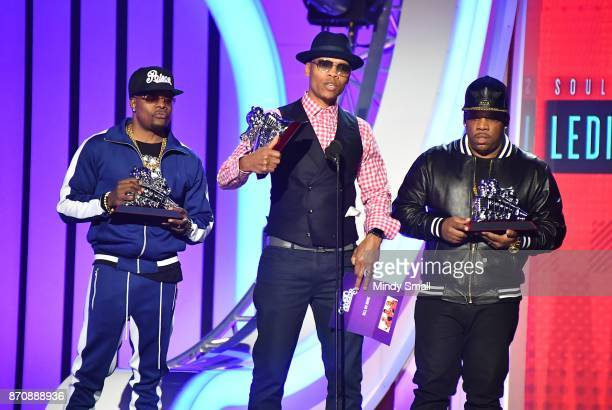 Ricky Bell Ronnie DeVoe and Michael Bivins of Bell Biv DeVoe accept the Soul Train Certified Award during the 2017 Soul Train Music Awards at the...