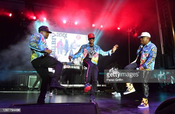 Ricky Bell, Ronnie DeVoe and Michael Bivins of Bell Biv DeVoe perform onstage during Drive-In Concerts Jokes & Jams concert series at Georgia...
