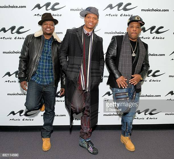 Ricky Bell Ronnie DeVoe and Michael Bivins of Bell Biv DeVoe visit Music Choice on January 19 2017 in New York City