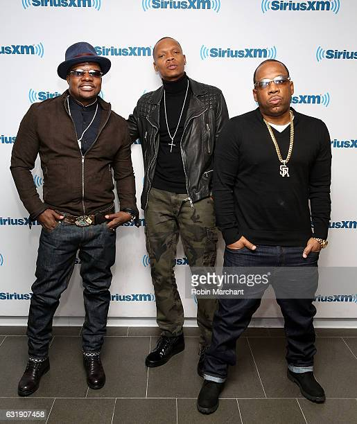 Ricky Bell Ronnie DeVoe and Michael Bivins of New Edition sit down for a special 'The Happy Hour with Heather B' on SiriusXM Fly at the SiriusXM...