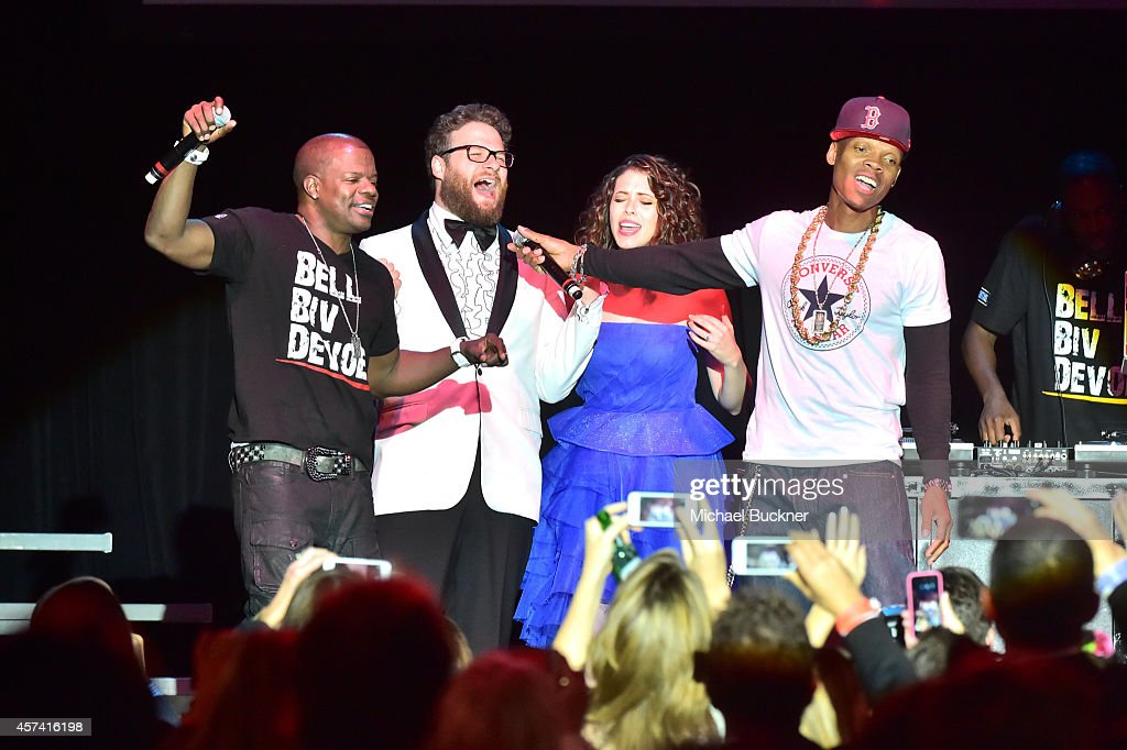 Ricky Bell, Seth Rogen, Lauren Miller Rogen and Ronnie DeVoe of Bell Biv DaVoe perform onstage during the 3rd Annual Hilarity for Charity Variety Show to benefit the Alzheimer's Association, presented by Genworth, at Hollywood Palladium on October 17, 2014 in Hollywood, California.