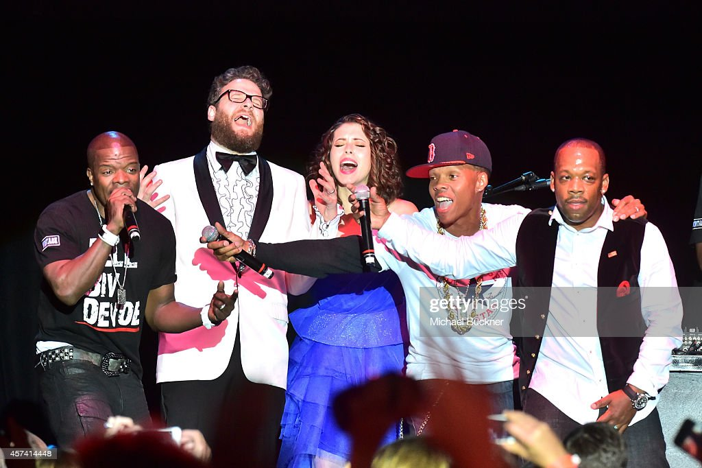 Ricky Bell, Seth Rogen, Lauren Miller Rogen, Ronnie DeVoe and Michael Bivins of Bell Biv DeVoe perform onstage during the 3rd Annual Hilarity for Charity Variety Show to benefit the Alzheimer's Association, presented by Genworth, at Hollywood Palladium on October 17, 2014 in Hollywood, California.
