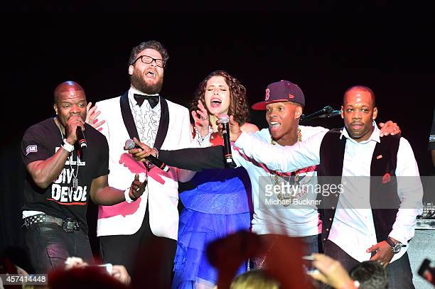 Ricky Bell Seth Rogen Lauren Miller Rogen Ronnie DeVoe and Michael Bivins of Bell Biv DeVoe perform onstage during the 3rd Annual Hilarity for...