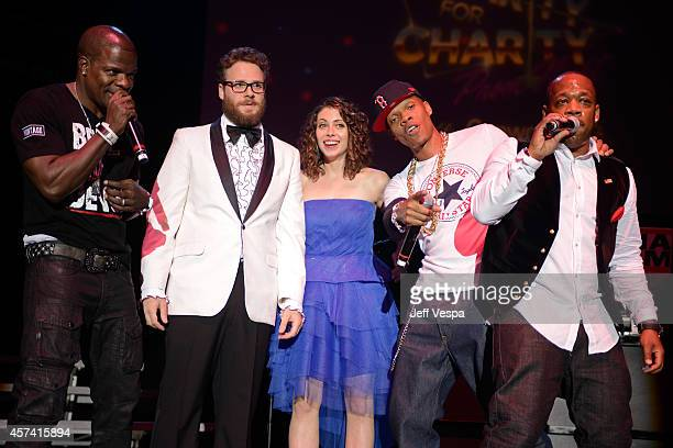 Ricky Bell Seth Rogen Lauren Miller Rogen Ronnie DeVoe and Michael Bivins of Bell Bic DaVoe perform onstage during the 3rd Annual Hilarity for...