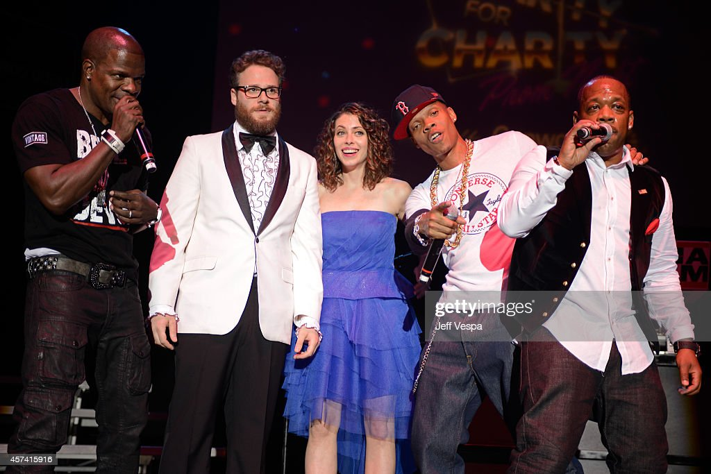 Ricky Bell, Seth Rogen, Lauren Miller Rogen, Ronnie DeVoe and Michael Bivins of Bell Bic DaVoe perform onstage during the 3rd Annual Hilarity for Charity Variety Show to benefit the Alzheimer's Association, presented by Genworth, at Hollywood Palladium on October 17, 2014 in Hollywood, California.