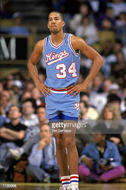 Ricky Berry of the Sacramento Kings stands on the court during an NBA game at the Great Western Forum in Los Angeles California in 1988