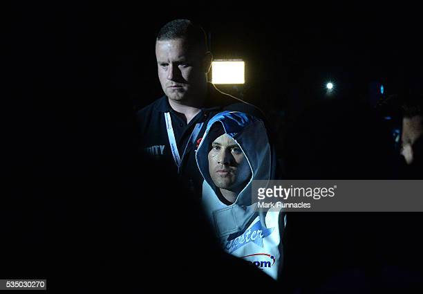 Ricky Burns of Scotland walk to the ring ahead of the WBA world superlightweight title fight at The SSE Hydro on May 28 2016 in Glasgow Scotland