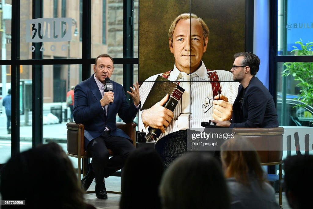 Ricky Camilleri (R) interviews Kevin Spacey during his visit the Build Series to discuss his new play 'Clarence Darrow' at Build Studio on May 24, 2017 in New York City.