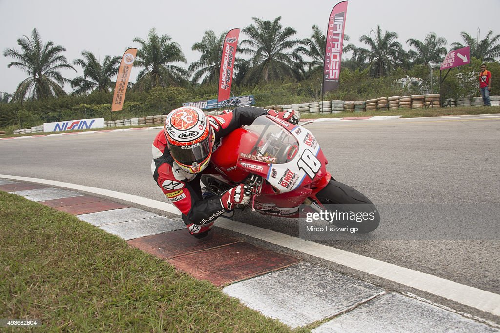 Ricky Cardus of Spain and JPMoto Malaysia rounds the bend dring the pre-event 'Mini Bikes Race at the Sepang International Go-Kart Circuit' ahead of the MotoGP of Malaysia at Sepang Circuit on October 22, 2015 in Kuala Lumpur, Malaysia.