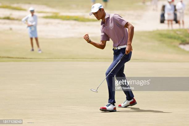 Ricky Castillo of Team USA celebrates on the 16th green during Sunday foursomes matches on Day Two of The Walker Cup at Seminole Golf Club on May 09,...