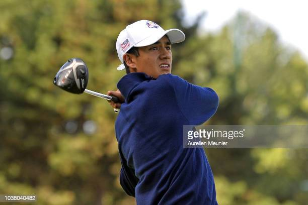Ricky Castillo of the United States swings during a training session prior to the Junior Ryder Cup at Disneyland Paris on September 22 2018 in Paris...