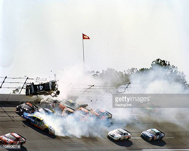 Ricky Craven sails into the fence at Talladega Superspeedway on lap 130 of the Winston Select 500 suffering only bruises from the fracas There was a...
