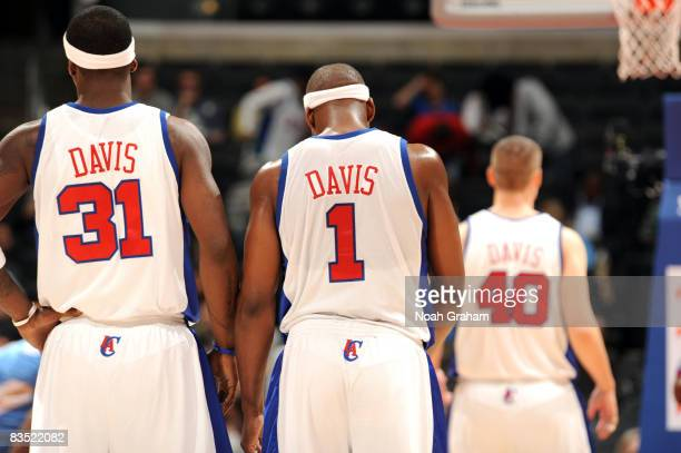 Ricky Davis Baron Davis and Paul Davis of the Los Angeles Clippers stand on the court at the same time during the game against the Denver Nuggets on...