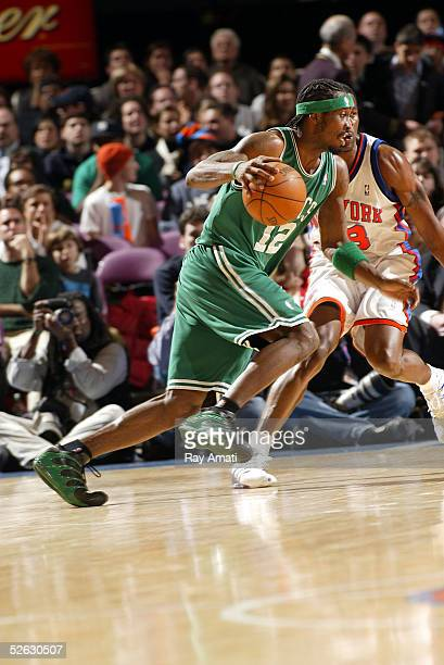 Ricky Davis of the Boston Celtics drives to the basket against the New York Knicks during the game on March 23 2005 at Madison Square Garden in New...