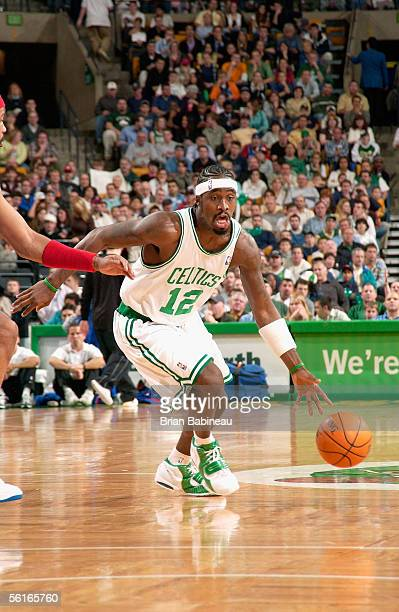 Ricky Davis of the Boston Celtics drives to the basket during the game against the Detroit Pistons at the TD Banknorth Garden on November 4 2005 in...