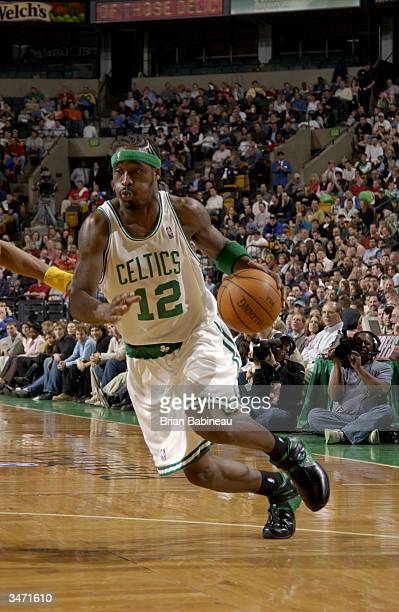 Ricky Davis of the Boston Celtics drives toward the basket in Game three of the Eastern Conference Quarterfinals against the Indiana Pacers during...