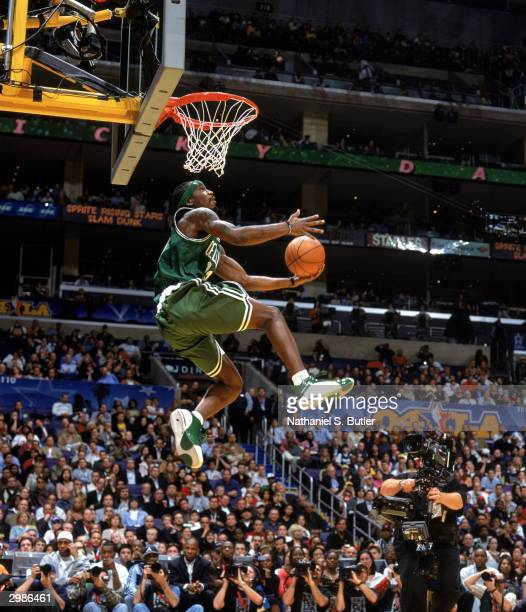 Ricky Davis of the Boston Celtics dunks during the Sprite Rising Stars Slam Dunk Contest on February 14 part of the 2004 AllStar Weekend at Staples...