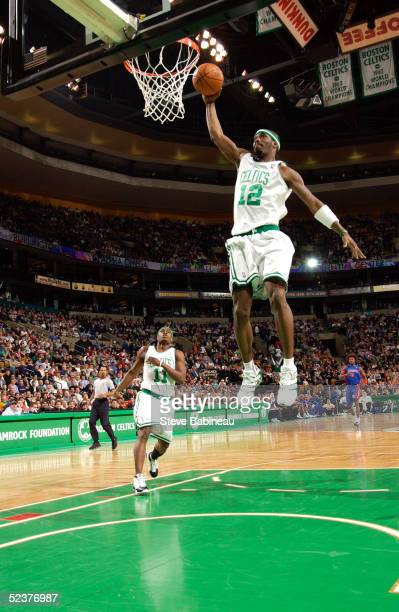 Ricky Davis of the Boston Celtics dunks in NBA action against the Detroit Pistons March 11 2005 at the Fleet Center in Boston Massachusetts NOTE TO...