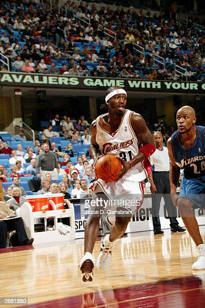Ricky Davis of the Cleveland Cavaliers drives to the basket during the preseason game against the Washington Wizards at Gund Arena on October 22 2003...