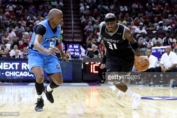 Ricky Davis of the Ghost Ballers handles the ball against Cuttino Mobley of Power during week four of the BIG3 three on three basketball league at...