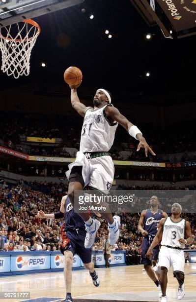 Ricky Davis of the Minnesota Timberwolves dunks the ball during a game between the Cleveland Cavaliers and Minnesota Timberwolves on February 8 2006...