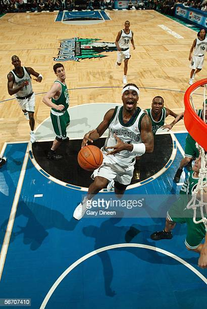Ricky Davis of the Minnesota Timberwolves loses control of the ball on his way to the basket against the Boston Celtics January 30 2006 at the Target...