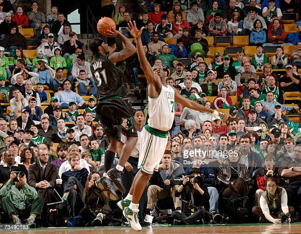 Ricky Davis of the Minnesota Timberwolves shoots against Al Jefferson of the Boston Celtics on March 4 2007 at the TD Banknorth Garden in Boston...