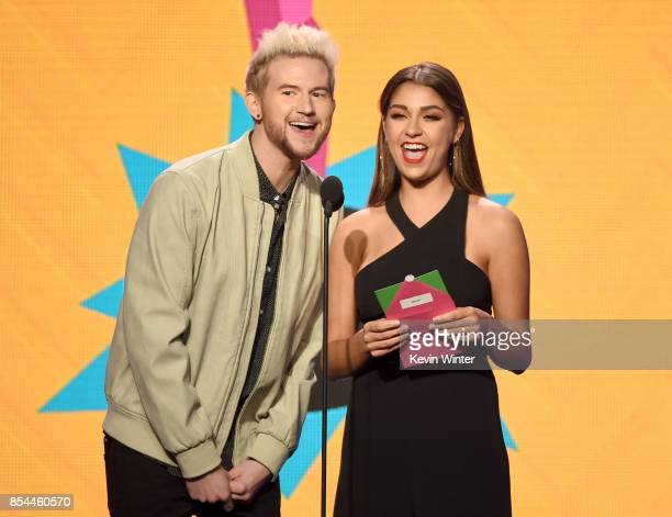 Ricky Dillon and Andrea Russett onstage during the 2017 Streamy Awards at The Beverly Hilton Hotel on September 26 2017 in Beverly Hills California