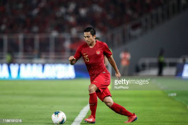 Ricky Fajrin Saputra of Indonesian's in action during FIFA World Cup 2022 qualifying match between Indonesia and Malaysia at the Gelora Bung Karno...
