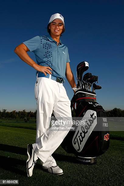 Ricky Fowler poses with his Titlesist golf bag on the driving range prior to the second round of the Albertson's Boise Open at Hillcrest Country Club...