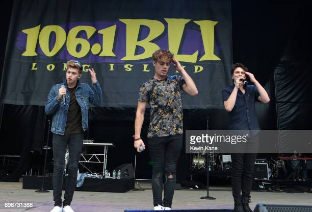 Ricky Garcia Emery Kelly and Liam Attridge of Forever In Your Mind perform on stage during the 2017 BLI Summer Jam at Nikon at Jones Beach Theater on...