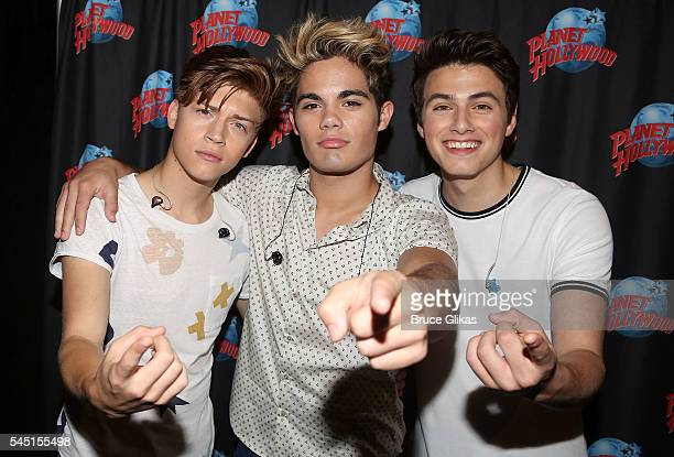 Ricky Garcia Emery Kelly and Liam Attridge of the band Forever In Your Mind promote their Hollywood Records EP 'FIYM' as they visit Planet Hollywood...